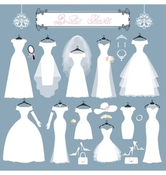Wedding dressesaccessories setfashion flat vector