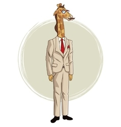Giraffe hipster style with beige suit red tie vector