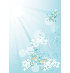 summer background with flowers and butterflies vector image