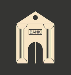 Flat in black and white bank building vector