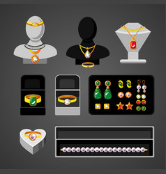 Cartoon jewelry accessories set vector