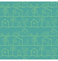 Country houses stylized seamless pattern vector