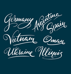 Germany and argentina hand written typography vector