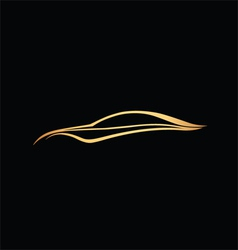 Golden speedy auto logo over black vector
