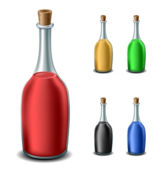 Old bottle set with different liquids vector