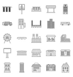 Skyscrapers icons set outline style vector