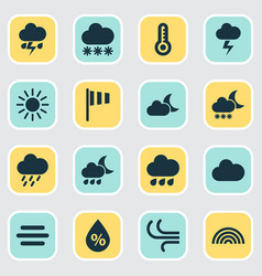 Air icons set collection of breeze nightly vector