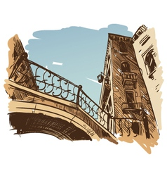 Venice cityscape drawing vector