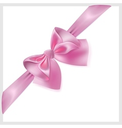 Pink bow with ribbon located diagonally vector