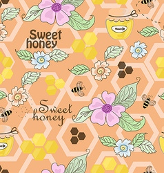 Seamless pattern of bees honey and flowers vector