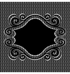 Ornament frame on metal textur vector