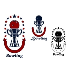 Bowling game icons with trophy cup vector