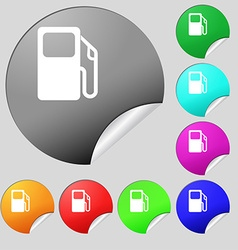 Auto gas station icon sign set of eight multi vector