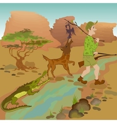 Cartoon hunter with bird wolf and alligator vector