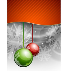 Christmas background with two balls vector