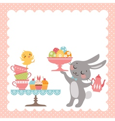Easter rabbit tea party vector