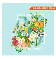 Tropical flowers and bird - for t-shirt vector