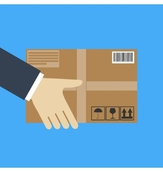 Delivery concept hand holding package vector