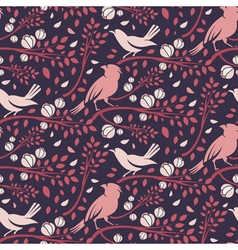 Seamless pattern of spring birds in branches with vector