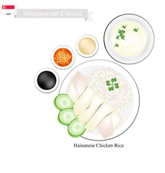 Hainanese chicken rice popular dish in singapore vector