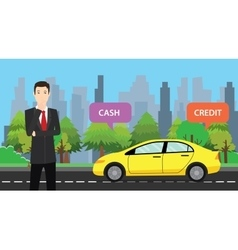 A businessman choose between cash or credit to buy vector
