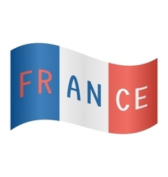 French flag waving with word france on white vector
