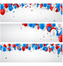 Banners set with balloons and flags vector