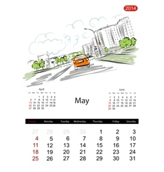 Calendar 2014 may streets of the city sketch for vector