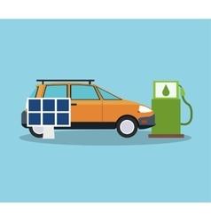 Car solar panel and bio fuel design vector