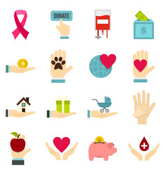 charity set flat icons vector image