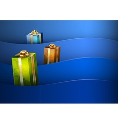 christmas background blue stripe wave vector image