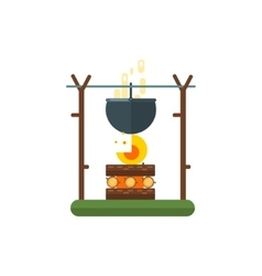 Cooking Pot On Fire vector image