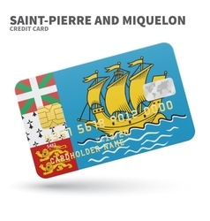 Credit card with saint-pierre and miquelon flag vector
