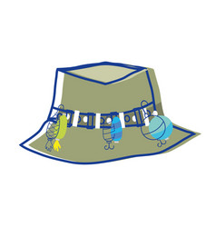 Fishing peasant hat object to warker vector