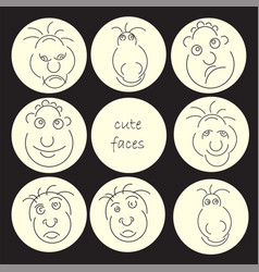 funny humor character collection cute faces vector image vector image