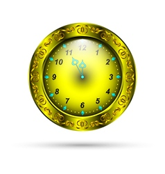 gold clock with curly ornament vector image vector image