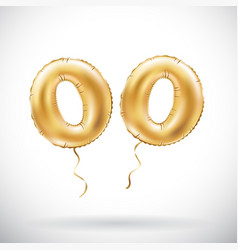Golden number 00 two zeros metallic balloon party vector