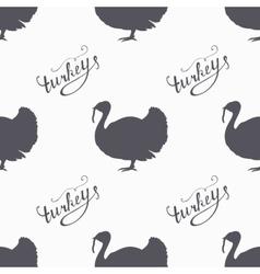 Hand drawn farm bird hipster silhouettes seamless vector image