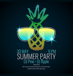 modern poster summer party with a pineapple vector image vector image