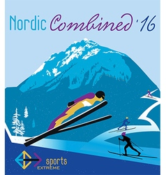retro poster nordic combined in the mountains vector image vector image