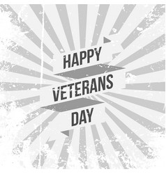 Ribbon template with happy veterans day text vector