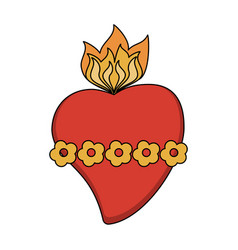 sacred heart cartoon vector image vector image