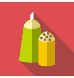 Salt and pepper shakers icon flat style vector