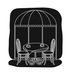 Served table near cafe icon in black style vector image