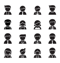 Silhouette user man woman icon set vector
