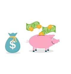 Smiling pretty pink pig piggy bank with falling vector image