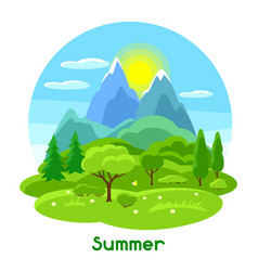 Summer landscape with trees mountains and hills vector