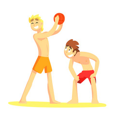 two guys playing volleyaball part of friends in vector image vector image