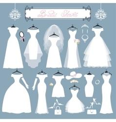 Wedding dressesaccessories setfashion flat vector