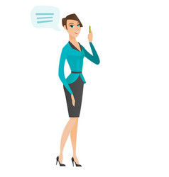 Young caucasian business woman with speech bubble vector